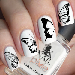 NEGATIVE SPACE BUTTERFLY Transparent Nail Decal Art Water Slider Sticker Transfer