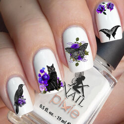 Purple BEWITCHING SHADOW Nail Decal Cat Raven Halloween Gothic Art Water Sticker