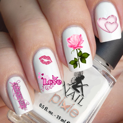 TRUE LOVE Nail Decal Art Water Slider Sticker Transfer Rose Lips Valentines Day