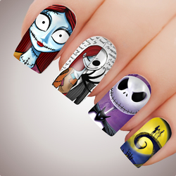 JACK SALLLY SKELLINGTON NIGHTMARE Before Christmas Full Cover Nail Decal Art Water Slider Xmas