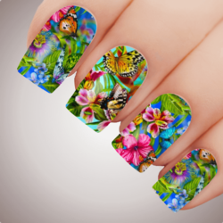 EXOTIC JUNGLE FLOWER Floral Full Cover Nail Decal Art Water Slider Transfer Tattoo Sticker