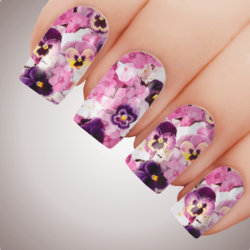 PANSY IN PINK Floral Full Cover Nail Decal Art Water Slider Transfer Tattoo Sticker