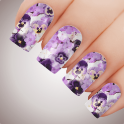 PANSY IN PURPLE Floral Full Cover Nail Decal Art Water Slider Transfer Tattoo Sticker