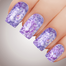 PURPLE PEONY Floral Full Cover Nail Decal Art Water Slider Transfer Tattoo Sticker