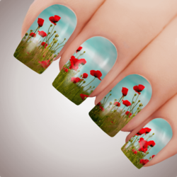 POPPY FIELD Anzac Rememberance Day Nail Decal Art Water Slider Transfer