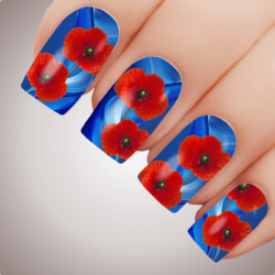 ETHEREAL POPPY Anzac Rememberance Day Nail Decal Art Water Slider Transfer