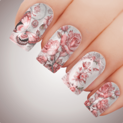 VICTORIAN ROSE PINK Floral Butterfly Full Cover Nail Decal Art Water Slider Transfer Tattoo Sticker