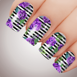 PURPLE FRENCH SAILOR Floral Full Cover Nail Decal Art Water Slider Transfer Tattoo Sticker