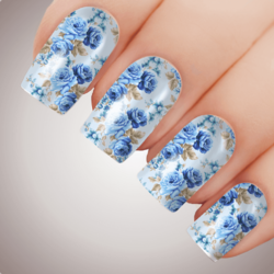 ANGELIC BLUE ROSE Floral Full Cover Nail Decal Art Water Slider Transfer Tattoo Sticker