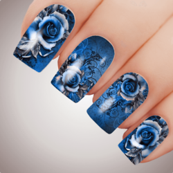 BLUE VIXEN ROSE Floral Full Cover Nail Decal Art Water Slider Transfer Tattoo Sticker