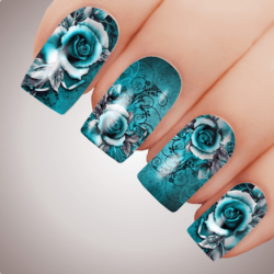 AQUA VIXEN ROSE Floral Full Cover Nail Decal Art Water Slider Transfer Tattoo Sticker