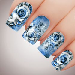 SWEET BLUE VIXEN ROSE Floral Full Cover Nail Decal Art Water Slider Transfer Tattoo Sticker
