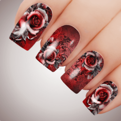 RED VIXEN ROSE Floral Full Cover Nail Decal Art Water Slider Transfer Tattoo Sticker