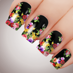 ARIA FLOWER Floral Full Cover Nail Decal Art Water Slider Transfer Tattoo Sticker