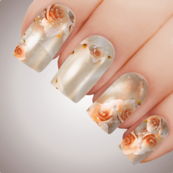 PEACH EBB & FLOW Floral Full Cover Nail Decal Art Water Slider Transfer