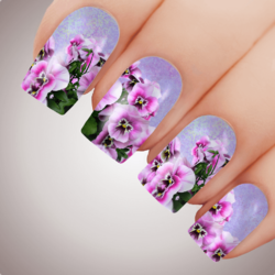 CHARMING PANSY Floral Full Cover Nail Decal Art Water Slider Transfer