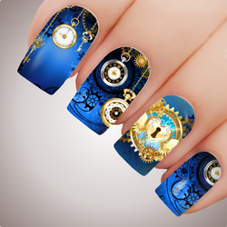 AZURE CLOCKWORK CITY Steampunk Full Cover Nail Decal Art Water Slider Transfer