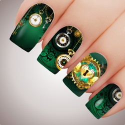 JADE CLOCKWORK CITY Steampunk Full Cover Nail Decal Art Water Slider Transfer