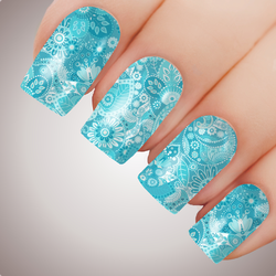 Aqua Paisley - ULTIMATE COLLECTION - Full Cover Nail Decal Water Transfer Tattoo