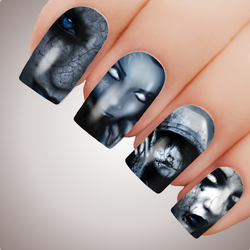 BEAUTIFUL HORROR - Halloween Ghost Girl Vampire Full Nail Art Decal Water Transfer Tattoo
