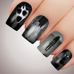 HORRIFYING GHOST - Paranormal Halloween Horror Full Nail Art Decal Water Transfer Tattoo
