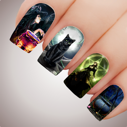 WITCHCRAFT - Halloween Witch Pagan Full Nail Art Decal Water Transfer Tattoo