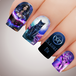 ENCHANTED WITCHCRAFT - Halloween Witch Pagan Full Nail Art Decal Water Transfer Tattoo