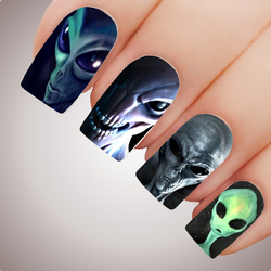 ALIEN - Halloween UFO Extraterrestrial Full Nail Art Decal Water Transfer Tattoo