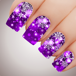 AMETHYST FAIRY LIGHTS Snowflake Christmas Nail Decal Xmas Water Transfer Sticker Tattoo