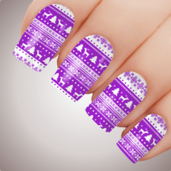 PURPLE WINTER WARMER Xmas Nail Decal Water Transfer Christmas Sticker Tattoo