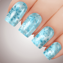 BLUE DREAM SNOWFLAKE Christmas Nail Decal Water Transfer Xmas Sticker Tattoo