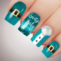 Turquoise SANTA BABY Christmas Nail Decal Xmas Water Transfer Sticker Tattoo