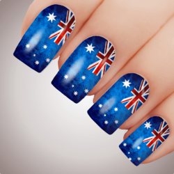 Dark Grunge AUSSIE FLAG Australia Day Nail Decal Water Transfer Sticker Tattoo
