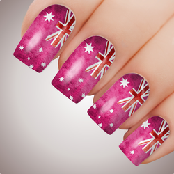 ROSE PINK AUSSIE FLAG Australia Day Nail Art Decal Water Transfer Sticker Tattoo