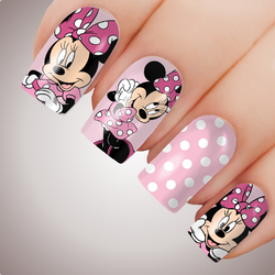 PINK MINNIE MOUSE Full Cover Nail Decal Art Water Slider Sticker Anime