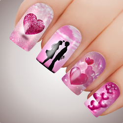 SWEET HEARTS Full Cover Nail Decal Art Water Valentines Sticker Love