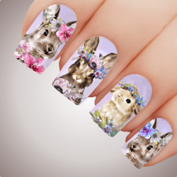 Lavender FLOWER GARDEN BUNNY Easter Nail Art Water Decal Transfer Sticker Tattoo