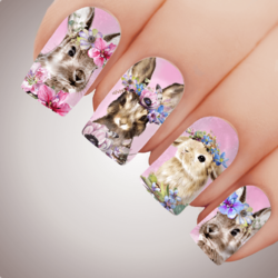 Rose FLOWER GARDEN BUNNY Easter Nail Art Water Decal Transfer Sticker Tattoo