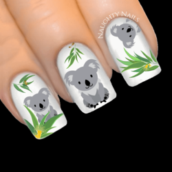 AUSSIE KOALA Nail Decal Australia OZ AU Water Transfer Sticker Tattoo
