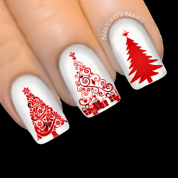 RUBY STARDUST Christmas Tree Nail Decal Xmas Water Transfer Sticker Tattoo
