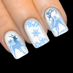 BLUE SNOWSTORM REINDEER Christmas Nail Decal Xmas Water Transfer Sticker Tattoo