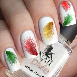 CHRISTMAS FEATHERS Nail Decal Xmas Water Transfer Sticker Tattoo