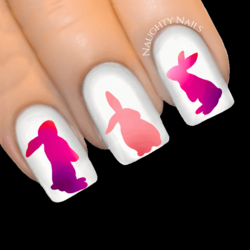 TWILIGHT OMBRE Bunny Easter Rabbit Nail Water Transfer Decal Sticker Art Slider