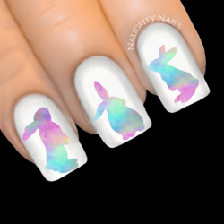 COTTON CANDY Bunny Easter Rabbit Rainbow Nail Water Transfer Decal Sticker Art Slider