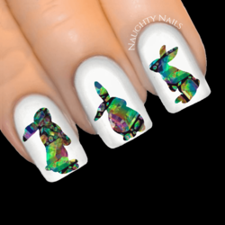 AZTEC CRYSTAL Bunny Easter Rabbit Nail Water Transfer Decal Sticker Art Slider