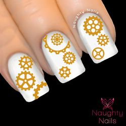 MATTE GOLD STEAMPUNK COGS Nail Water Transfer Decal Sticker WATCH PARTS