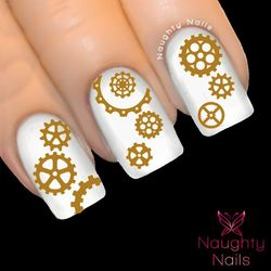MATTE BRONZE STEAMPUNK COGS Nail Water Transfer Decal Sticker WATCH PARTS