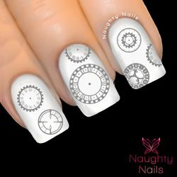 MATTE SILVER STEAMPUNK CLOCK FACE Nail Water Transfer Decal Sticker WATCH COGS
