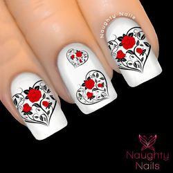 RED ENTWINED HEARTS Love Valentines Day Nail Water Transfer Decal Sticker ROSE