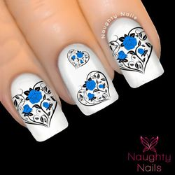 BLUE ENTWINED HEARTS Love Valentines Day Nail Water Transfer Decal Sticker ROSE